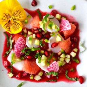 A Colorful and Festive Scallop Ceviche with Blood Orange Sauce